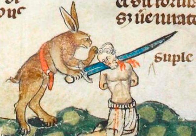 Os bizarros manuscritos medievais ilustrados com desenhos de coelhos assassinos