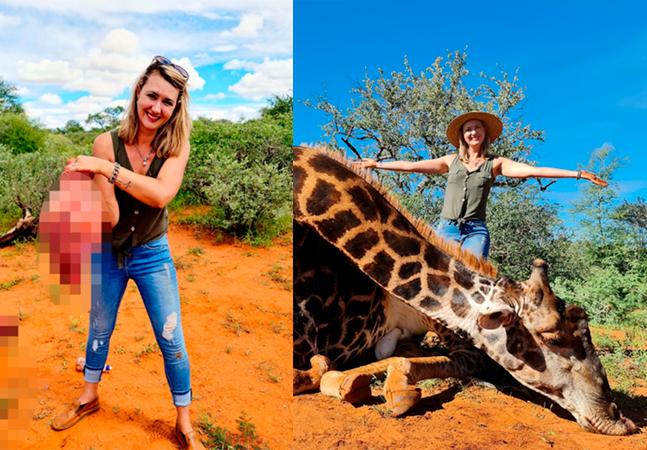 Mulher posa com coração de girafa presente do Dia dos Namorados e defende caça para salvar animais