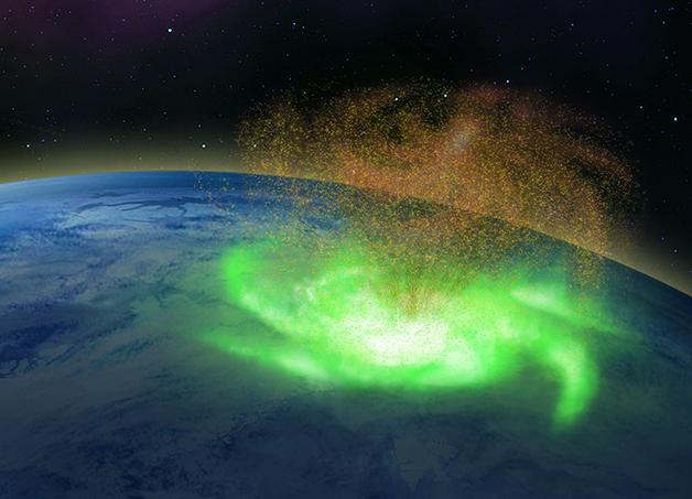 """Representação artística de um """"furacão"""" espacial ocorrido na alta atmosfera terrestre"""