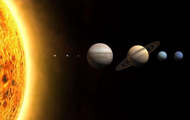 Representação do Sistema Solar com os tamanhos proporcionais - as distâncias, porém, não equivalem à realidade