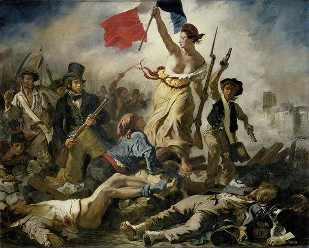 A pintura A Liberdade Guiando o Povo, de Eugène Delacroix