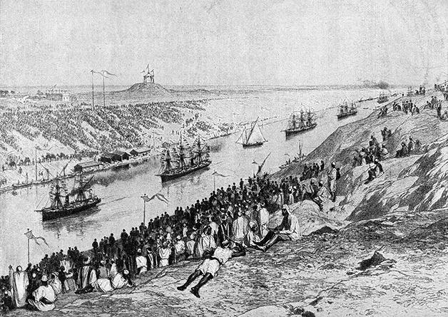 Ilustração mostrando a inauguração do Canal, em 1869