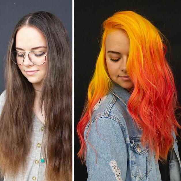 Antes e depois de um cabelo pintado de laranja
