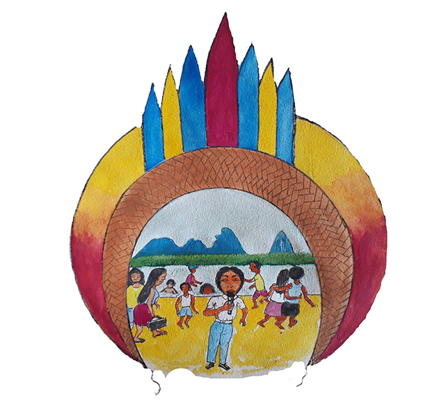 O símbolo da Rede Wayuri, desenhado pelo artista Feliciano Lara