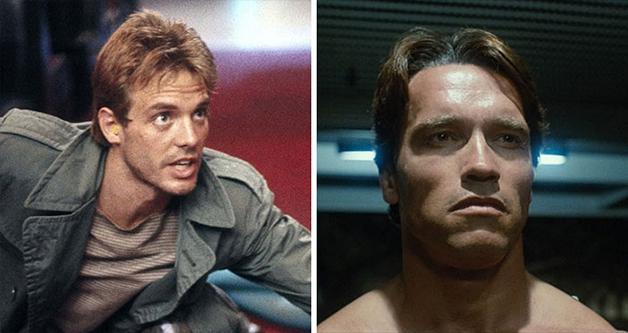 """Arnold Schwarzenegger e o personagem Kyle Reese em """"O Exterminador do Futuro"""""""