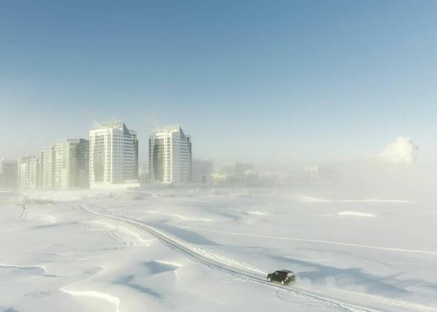 A paisagem coberta de neve de Lacútia