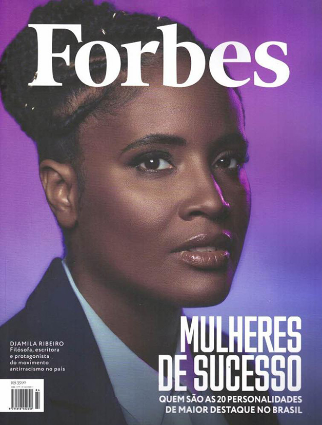 Djamila na capa da revista Forbes como uma das 20 personalidades de maior destaque no Brasil