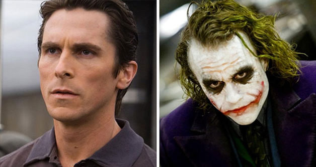 Christian Bale e Heath Ledger como Coringa