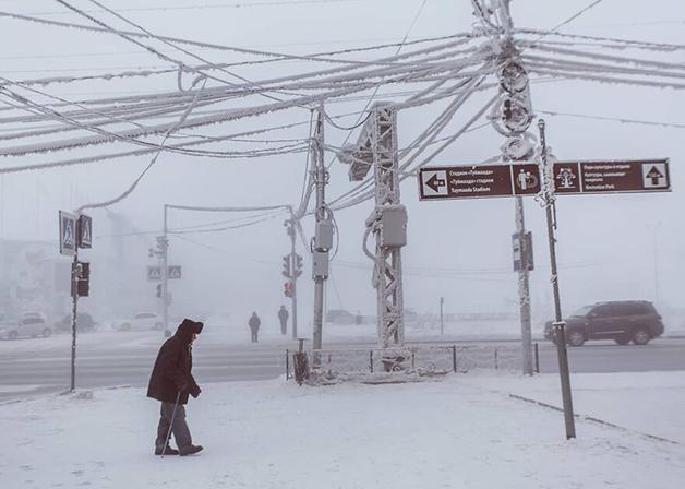 Ruas congeladas de Lacútia, na Rússia