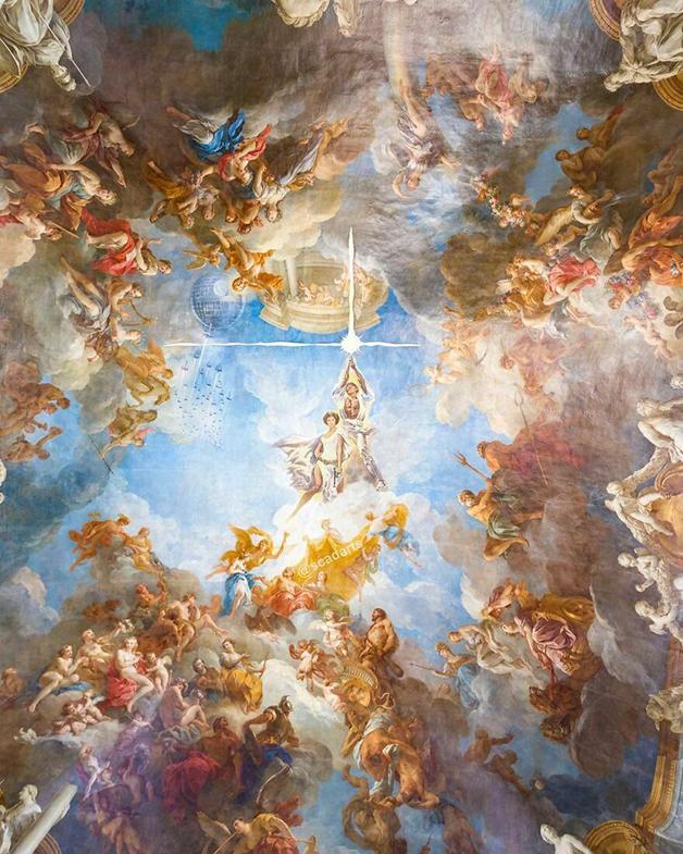 Léia e Luke no centro do universo em quadro renascentista