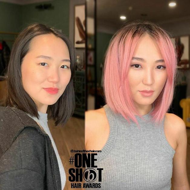 Antes e depois de cabelo cortado e tingido em rosa