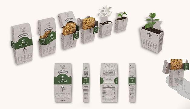 """O ciclo completo da embalagem """"Sprout"""", feita com papel à base de abacaxi"""