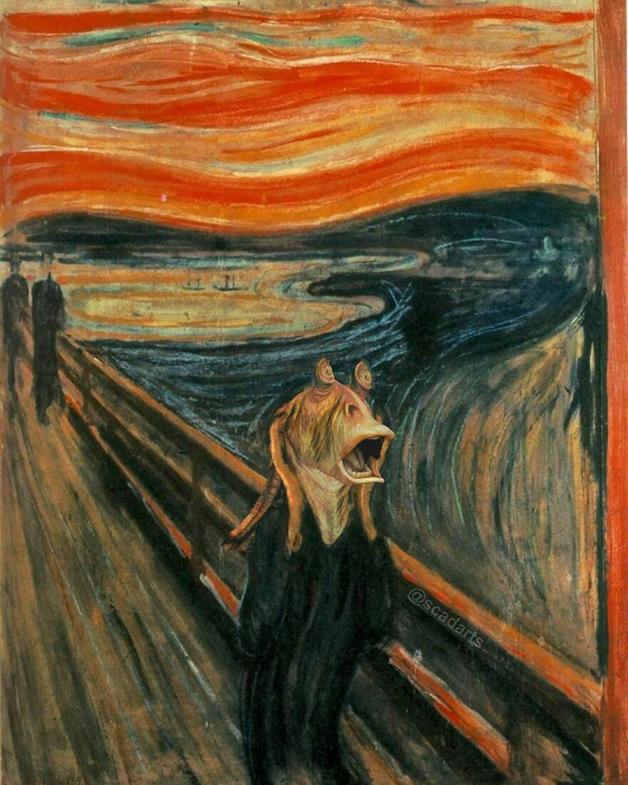 "Jar Jar Binks em ""O Grito"", de Edvard Munch"