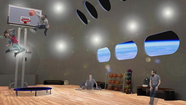Quadra de basquete com baixa gravidade no hotel Voyager Class Space Station