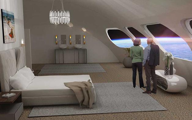 Representação artística de um quarto de luxo do Voyager Class Space Station