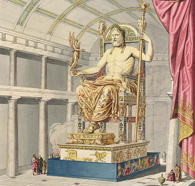 Representação da estátua de Zeus em Olímpia feita pelo artista Quatremère de Quincy