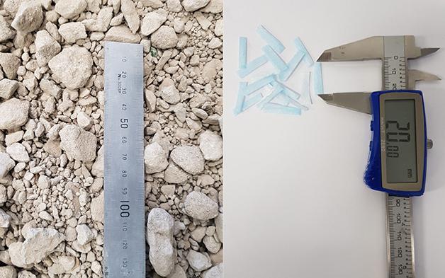 mistura feita de entulho e máscara triturada para fazer asfalto reciclado