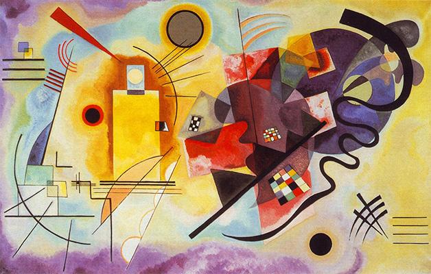 O quadro Yellow-Red-Blue, pintado por Kandinsky em 1925