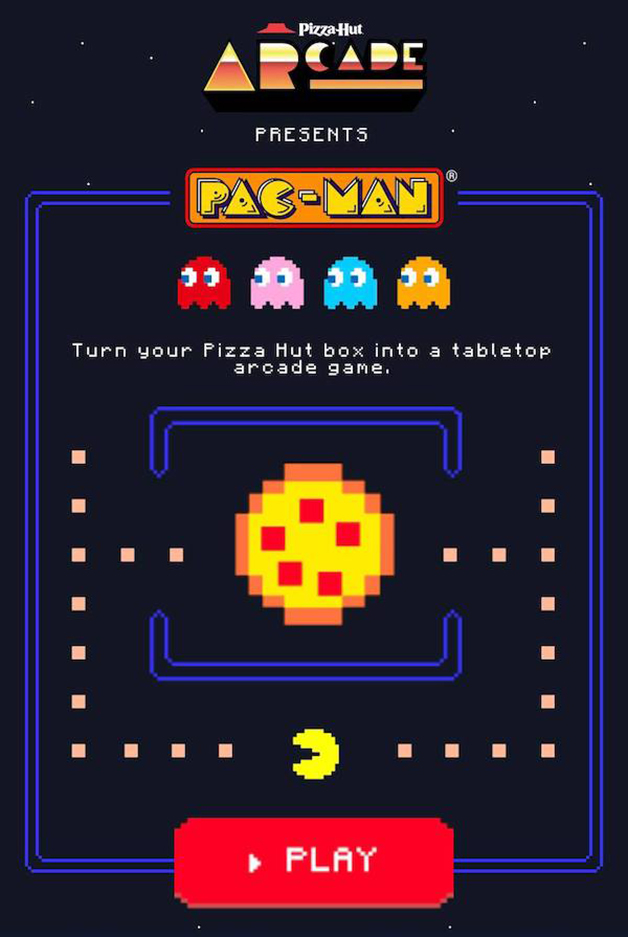 Tela de apresentação do Pac-Man Pizza Hut