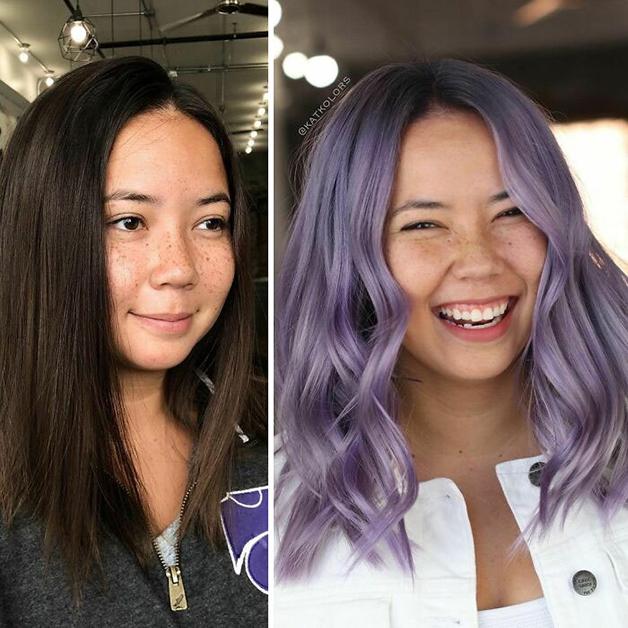 Antes e depois de um cabelo pintado de roxo
