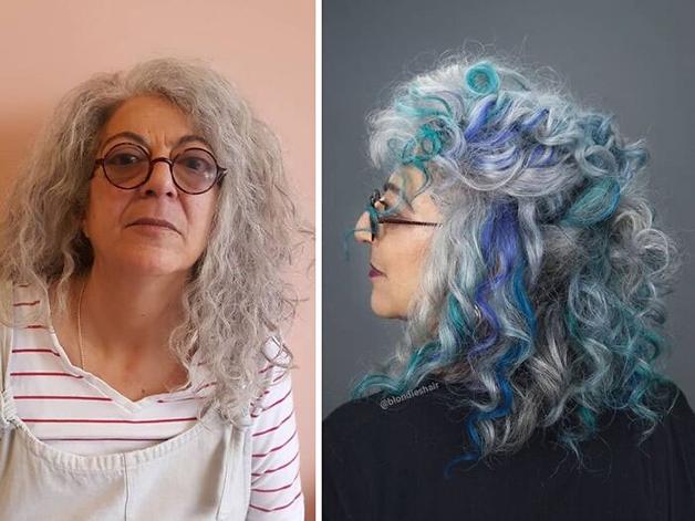 Antes e depois de um cabelo pintado com mechas de azul