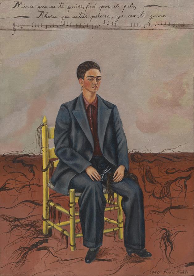 """""""Autorretrato com cabelo cortado"""", quadro de Frida Kahlo de 1940"""
