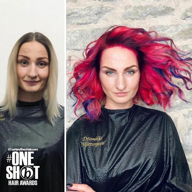 Antes e depois de um cabelo pintado de rosa e azul