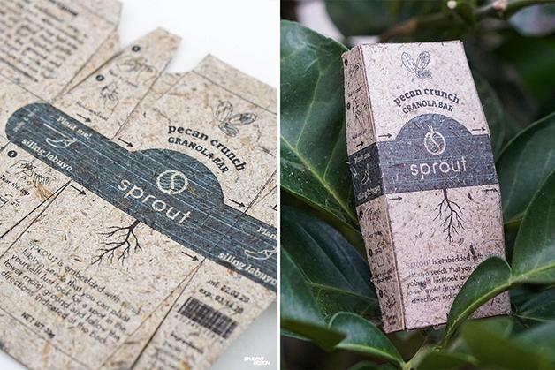 "A embalagem ""Sprout"" feita com papel Pinyapel, de abacaxi"