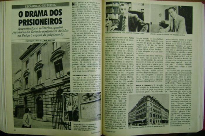 """Texto da revista Placar com manchete """"O Drama dos Prisioneiros"""""""