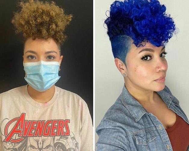 Antes e depois de cabelo tingido em azul