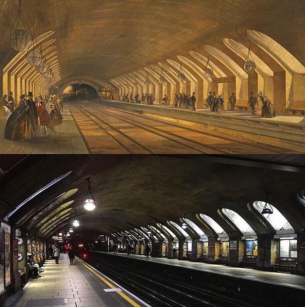 Comparação entre a estação de Baker Street, no metrô de Londres, em 1863 e 2020