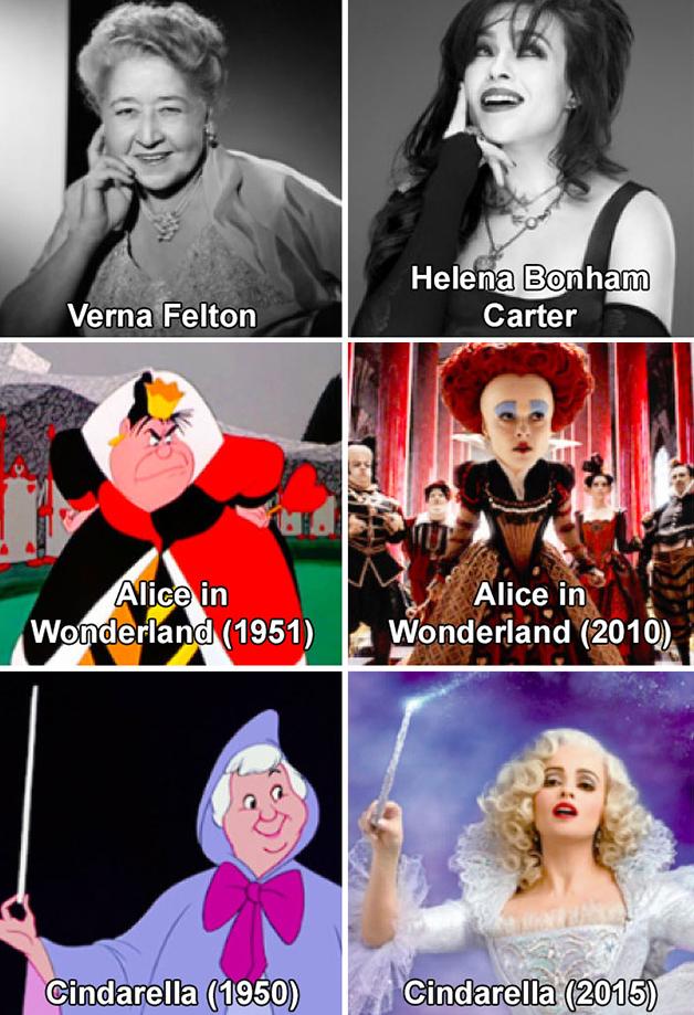 Alice e Cinderela; Verna Felton e Helena Bonham Carter