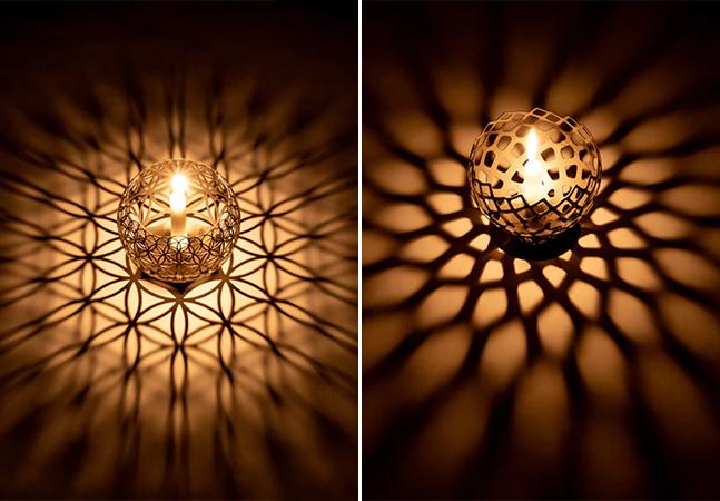 Porta-velas de projeção geométrica cria obras de arte com sombras