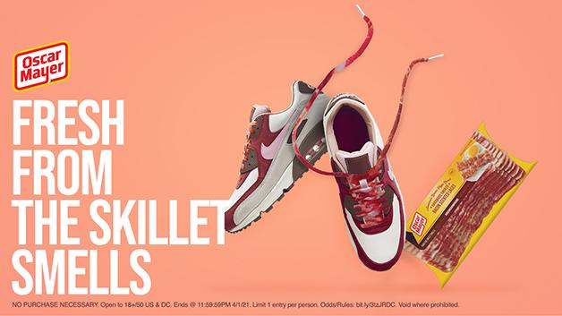 O cadarço de bacon da marca Oscar Mayer no Nike Air Max 90 Bacon