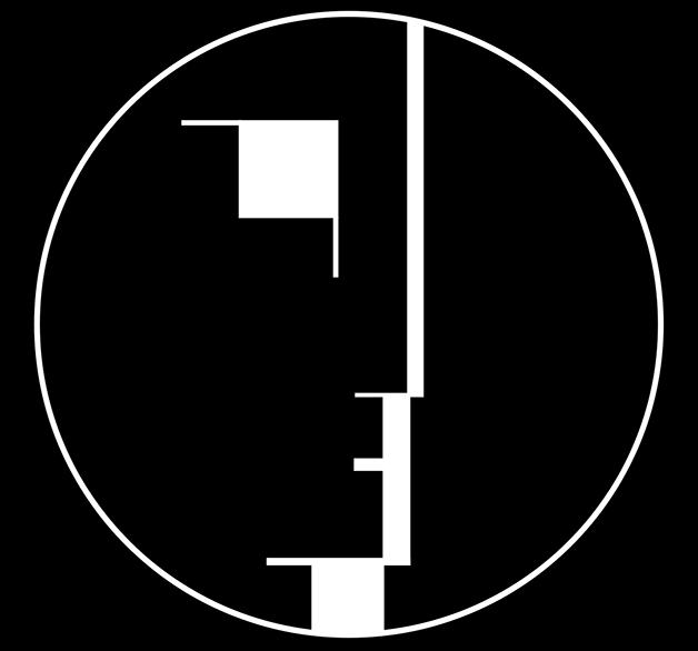 O emblema da Bauhaus desenhado por Oskar Schlemmer em 1921