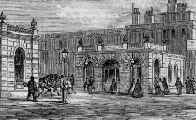 Desenho da entrada da estação de Baker Street, em Londres, em 1863