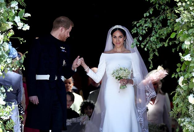 Meghan Markle durante seu casamento com o príncipe Harry