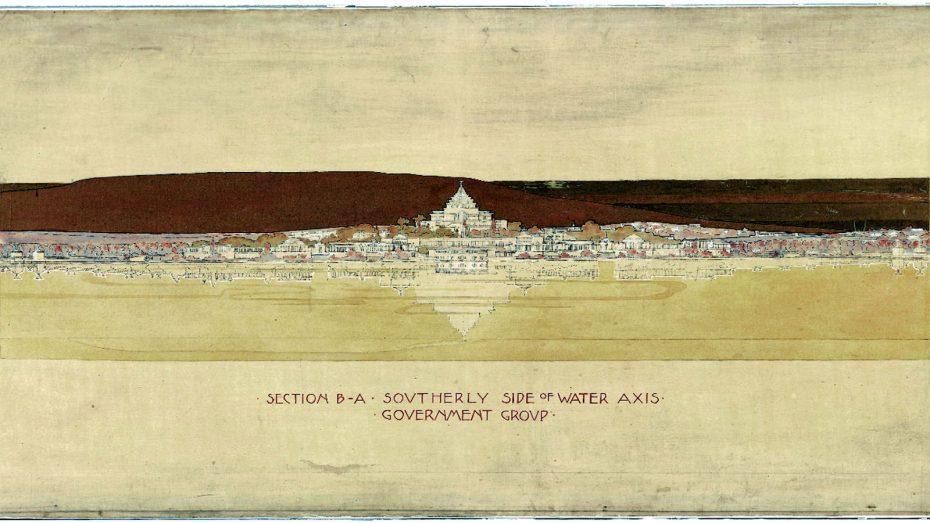 Um dos desenhos de Marion para o concurso de design de Canberra © National Archives of Australia