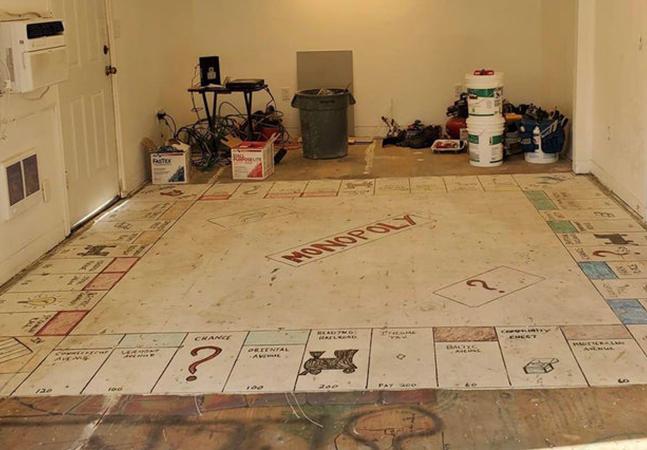 Monopoly: antigamente era moda pintar tabuleiros gigantes no chão das casas nos EUA