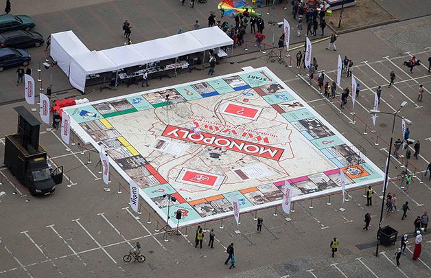 O maior tabuleiro do mundo, em Varsóvia, em 2015