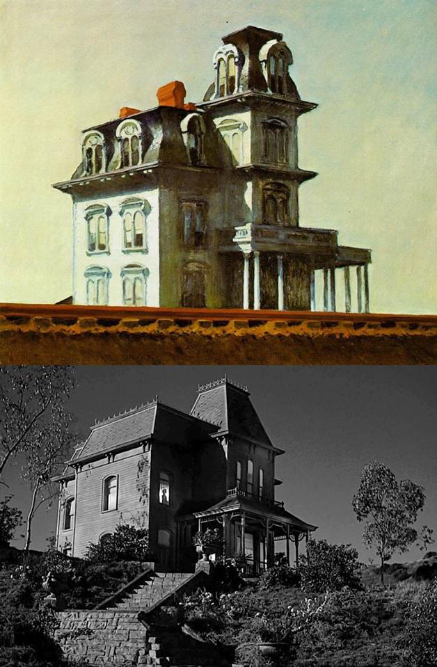 """Outro exemplo ilustrado: a casa de """"Psicose"""", e um quadro de Hopper"""