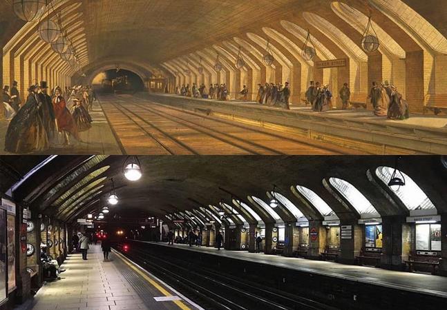 Metrô de Londres: montagem compara estação de Baker Street em 1863 e 2020