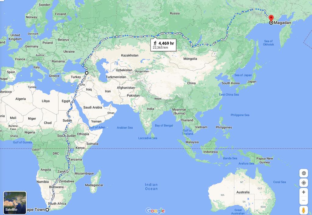 Maior caminho do mundo da Cidade do Cabo a Rússia