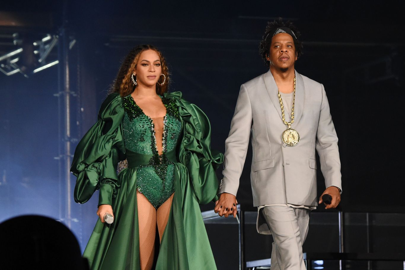 Beyoncé e Jay-Z em show em Joanesburgo, em 2018.
