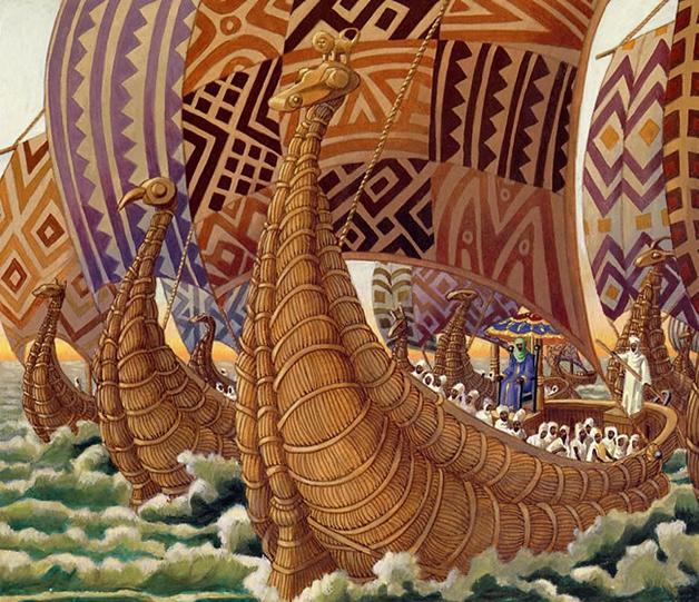 Ilustração de alguns dos navios malineses rumo à América