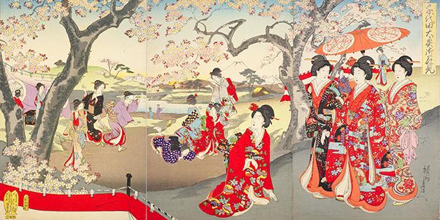 Hanami registrsado em pintura de Toyohara Chikanobu de 1894