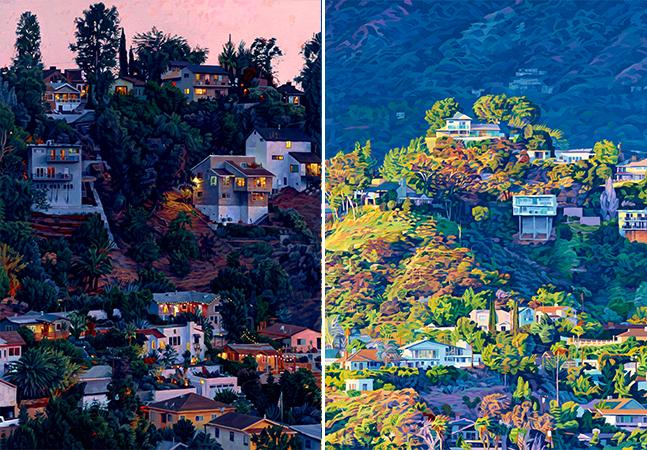 Luzes e cores das colinas e casas de Los Angeles são inspiração para esse pintor