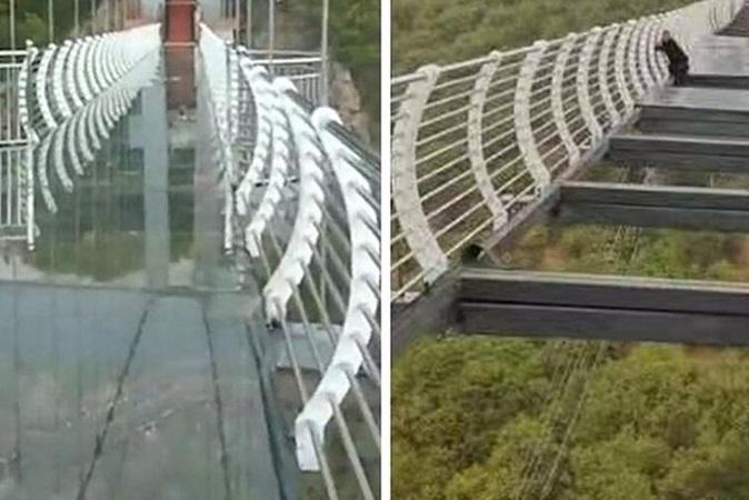 China: homem fica pendurado a 100 metros de altura após ponte quebrar