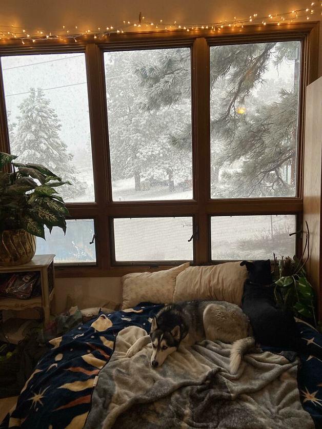 cama com neve na janela