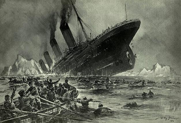 Representação artística do naufrágio do Titanic feita por Willy Stöwer em 1912